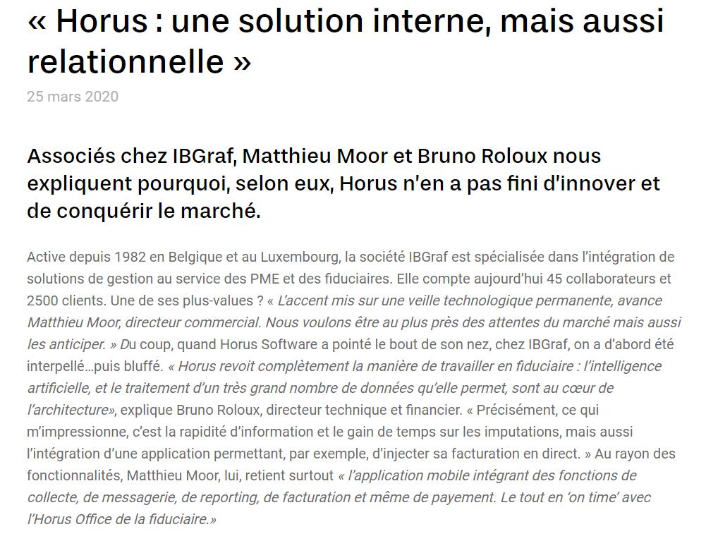 Interview IBGraf (Matthieu Moor et Bruno Roloux) pour Horus Software