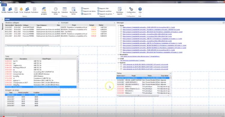 Paramétrage de l'écran d'accueil d'Admin-Consult